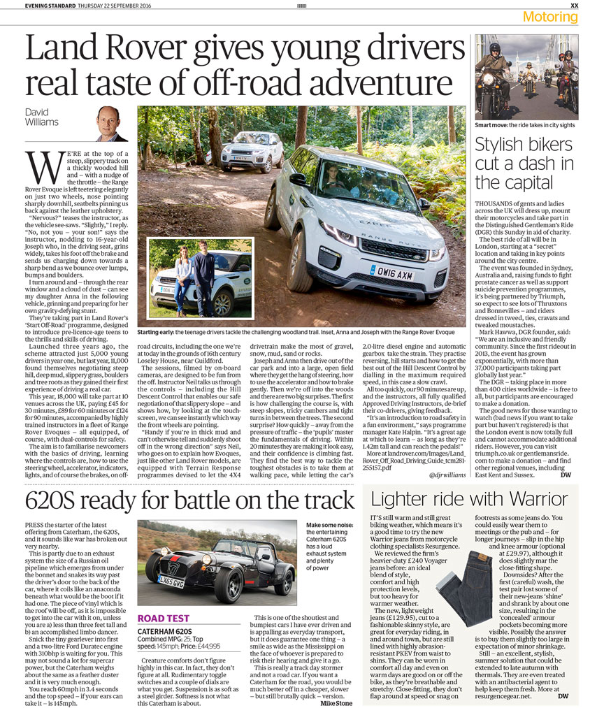 Motoring article published by the London Evening Standard